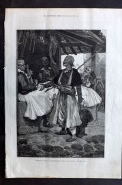 ILN 1880 Antique Print. Sketches in Albania: A Bear Fancier in Scutari Shkodra